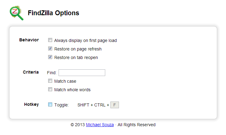Findzilla Options